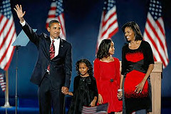 Barack Obama and family celebrate Presidential victory